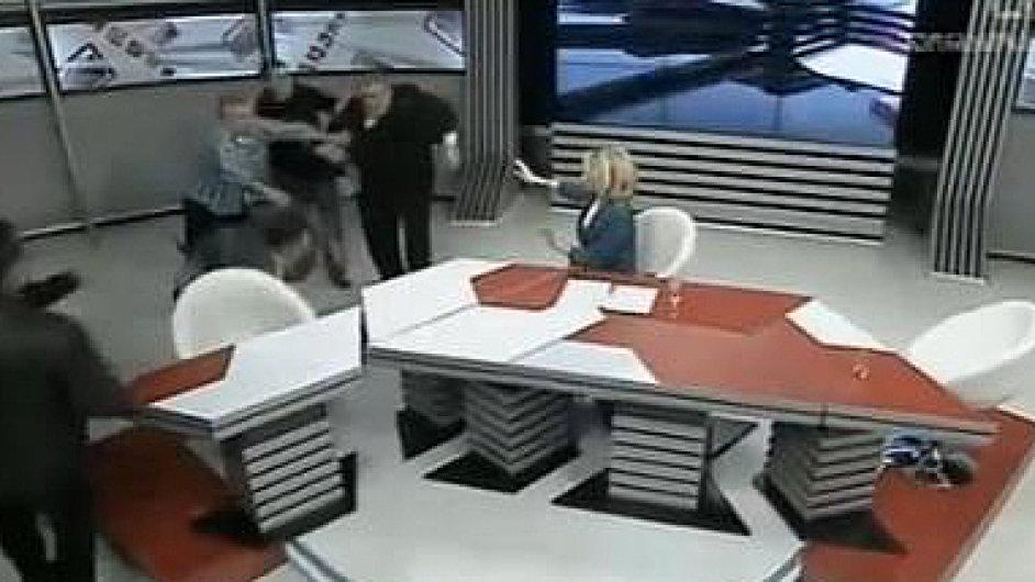 Rvačka v gruzínské televizi