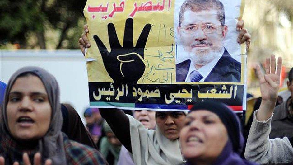 Protesty na podporu bývalého prezidenta Mursího, kandidáta Muslimského bratrstva