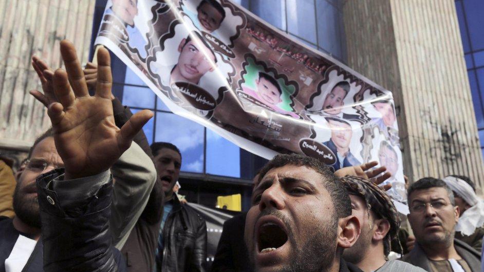 V Káhiře se uskutečnila demonstrace proti únosu Egypťanů Islámským státem.