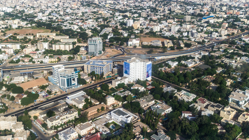 Letecký pohled na senegalské hlavní město Dakar