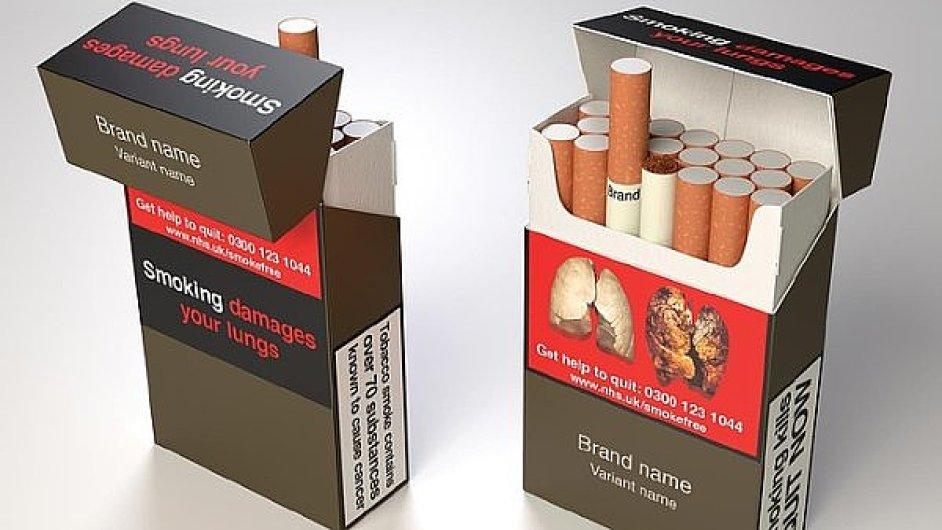 Jednotné krabičky cigaret. Ilustrační foto