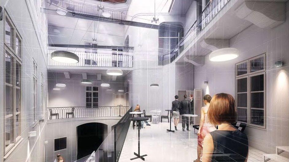 Pražské Divadlo Na zábradlí se dočká výstavby nového foyeru zastřešením dvorku a pochozí galerie se schodištěm.