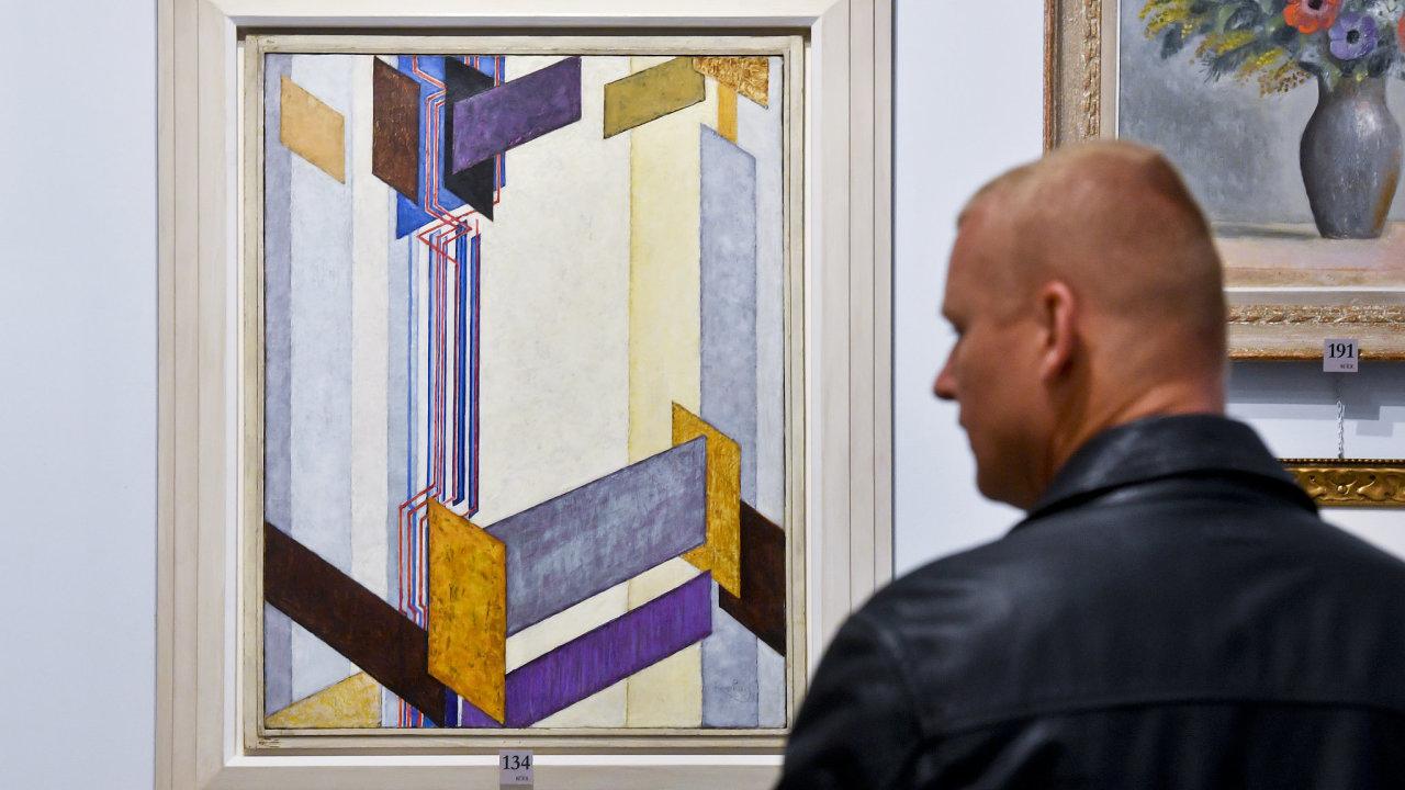Kupkův abstraktní obraz Plochy příčné II.