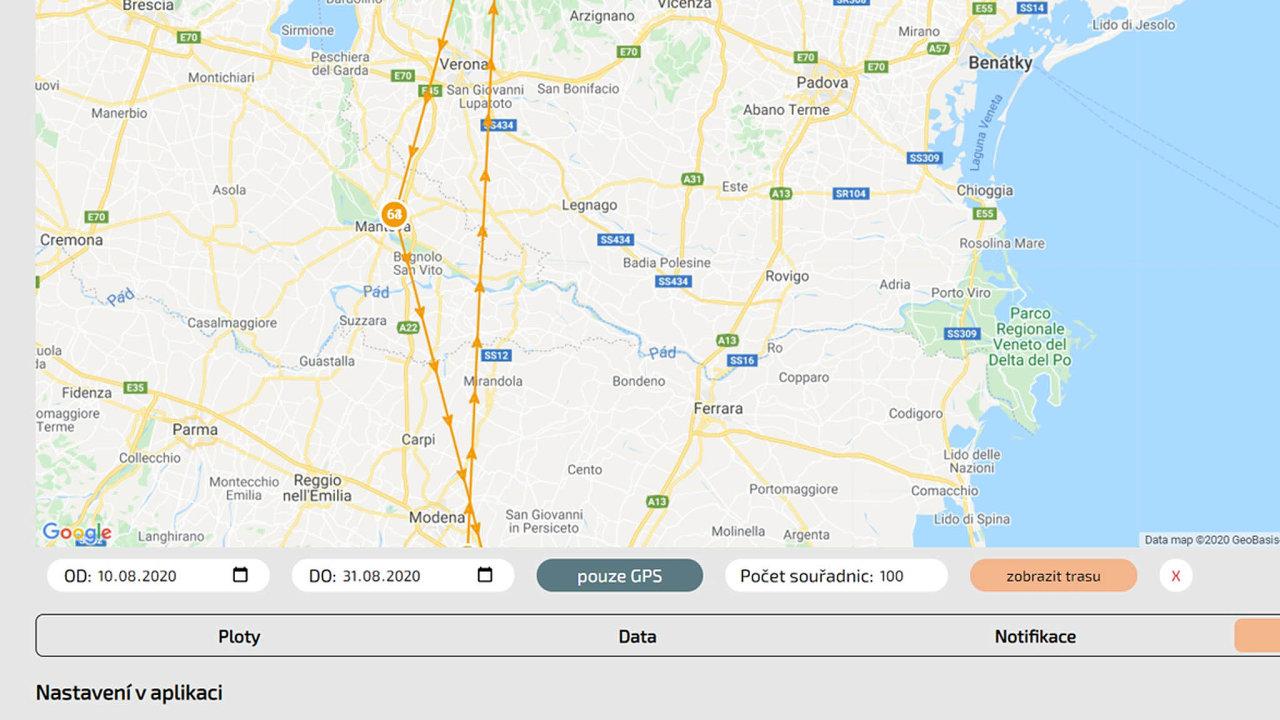 Zabezpečená webová aplikace nakreslí, kudy například auto snainstalovaným trackerem jelo.
