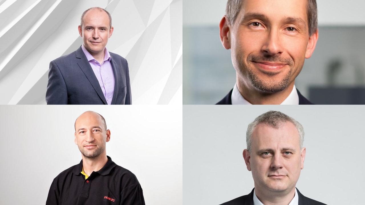 Účastníci debaty Nahradí nás roboti? Nahoře vlevo Vítězslav Lukáš, vpravo Pavel Ambrož. Dole vlevo Petr Duchoslav, dole vpravo Igor Zahrádka.