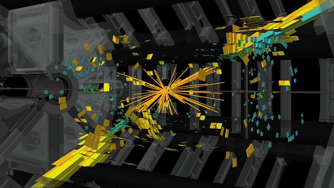 Takováto data o srážce protonů na Velkém hadronovém urychlovači v CERNu umělé inteligenci stačí, aby objevila kvarky a gluony, aniž by něco
