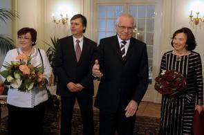 Prezident Václav Klaus a premiér Jan Fischer na Novoročním obědě v Lánech