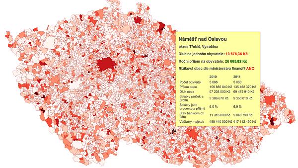 Mapa dluhů všech obcí v ČR