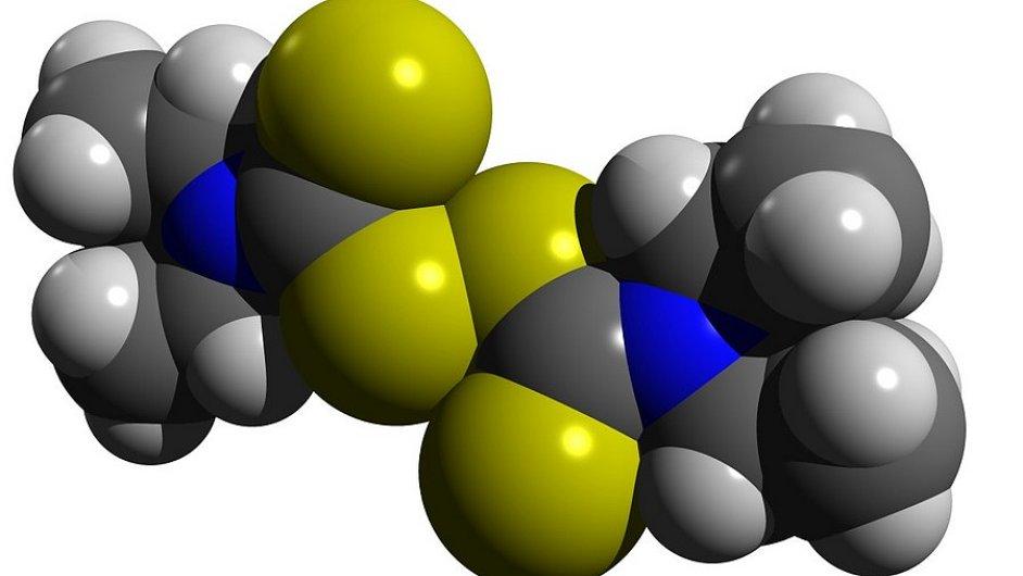 Disulfiram, účinná molekula Antabusu. Zdroj: Wikipedia, licence Creative Commons CC0 1.0 Universal Public Domain Dedication.