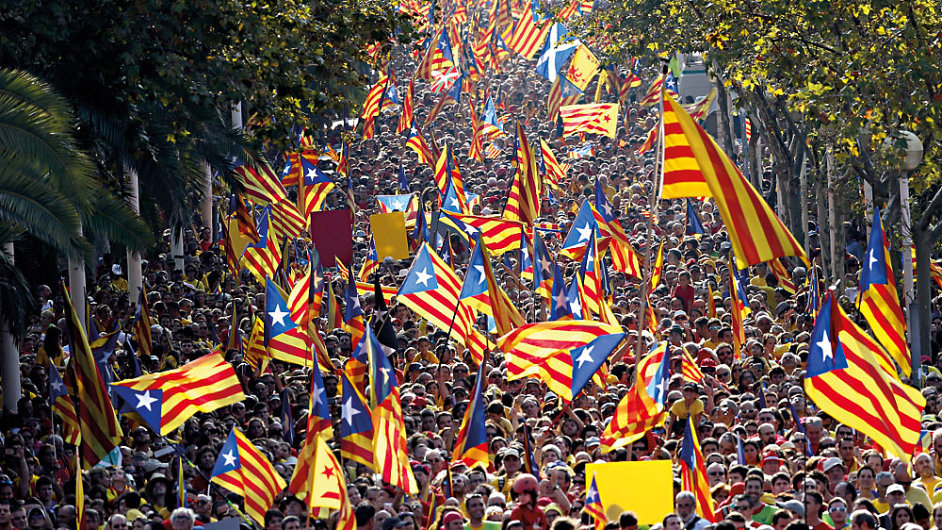 Chtěli by hlasovat. (Barcelona 11. září 2014)