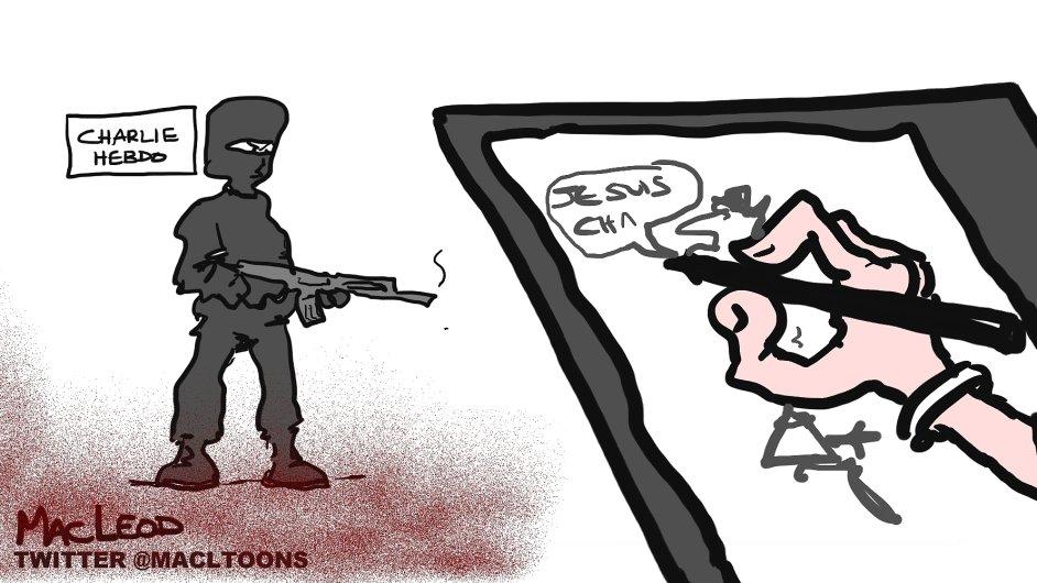 Karikatura k útoku na Charlie Hebdo, ilustrační foto.