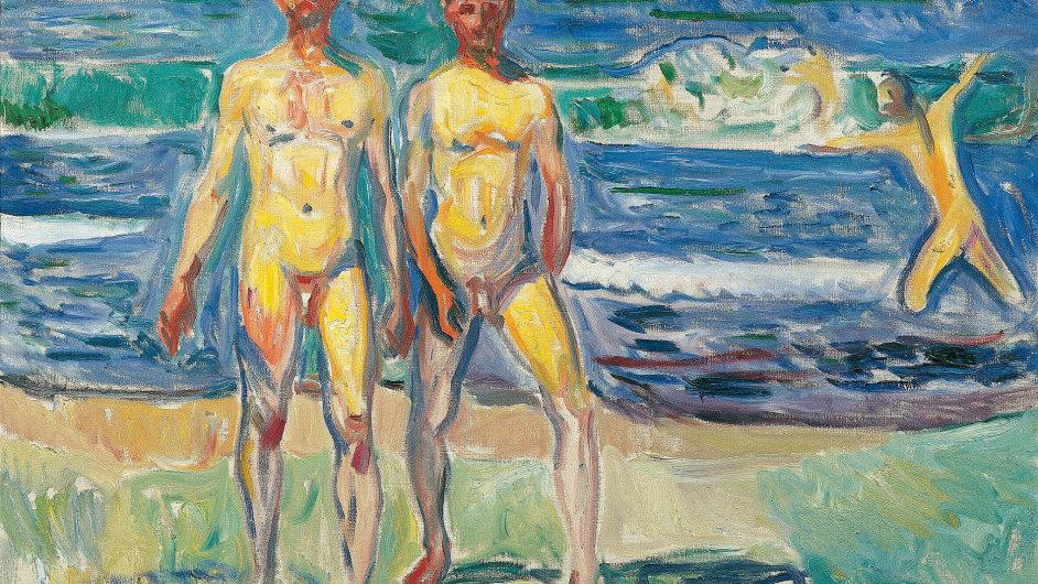 Edvard Munch: Muži na břehu, 1908, olej, plátno