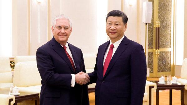 Americký ministr zahraničí Rex Tillerson na setkání s čínským prezidentem Si Ťin-Pchingem.