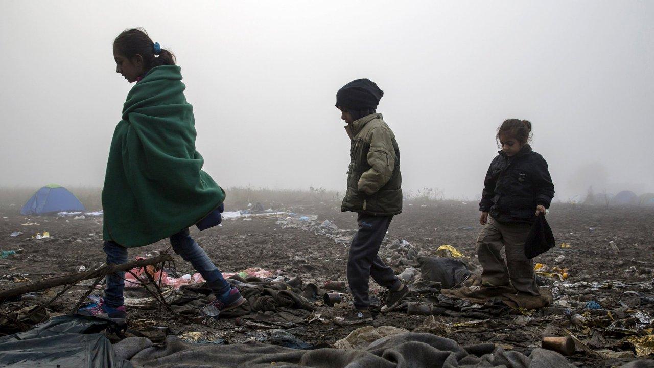 Uprchlíci na srbsko-chorvatské hranici.