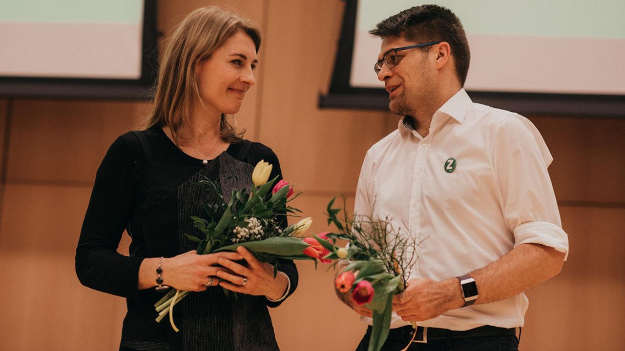 Zaobnovou vedvou: Spolupředsedové Strany zelených Magdalena Davis aMichal Berg vedou stranu odletoška.