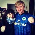 Herec a fotbalov� fanou�ek Ladislav Hampl s man�elkou
