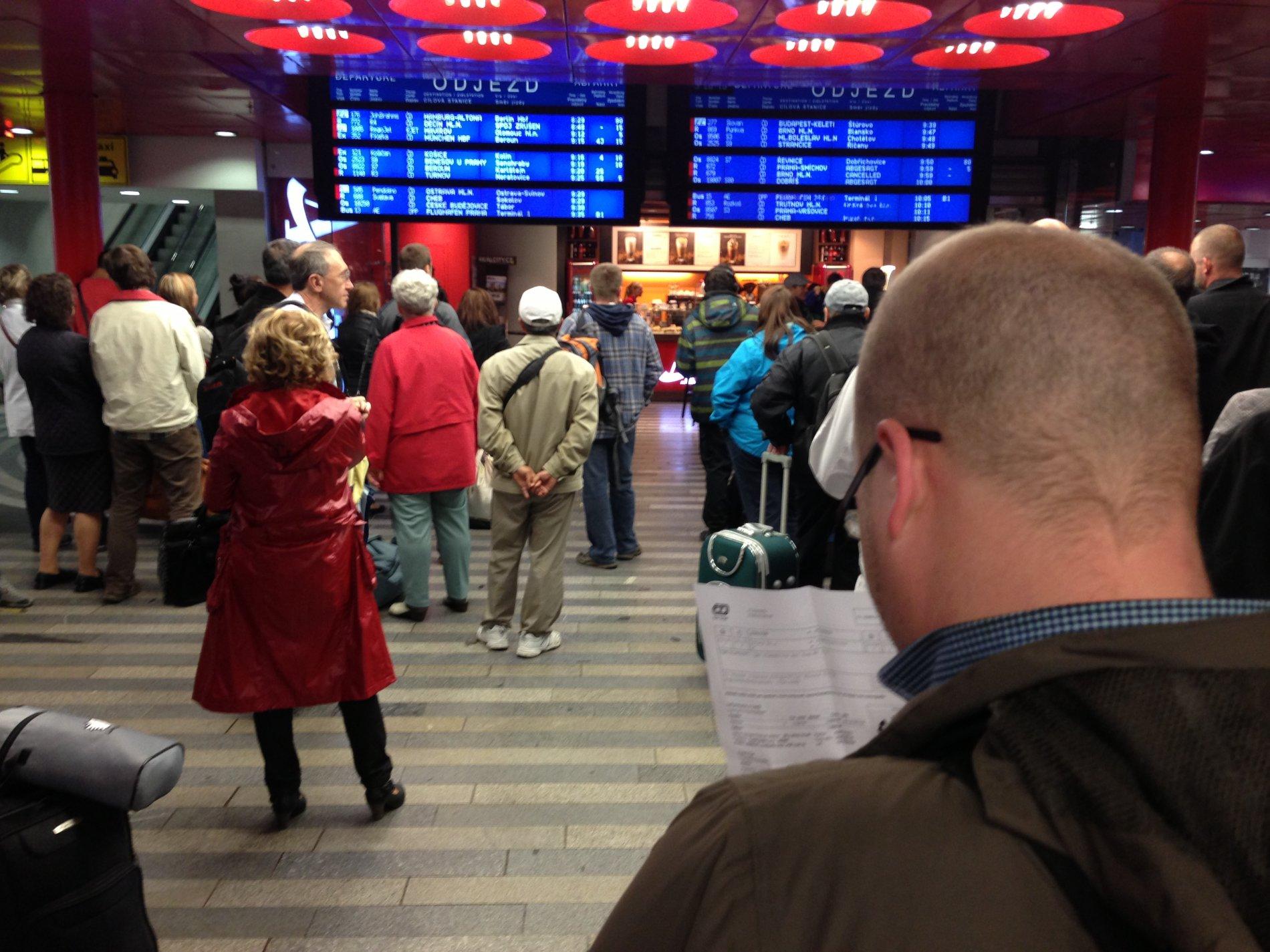 Zmatek na pražském hlavním nádraží