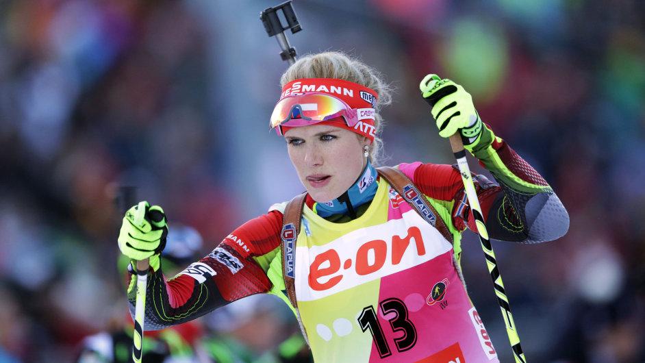 Gabriela Soukalová v závodě Světového poháru v Ruhpoldingu