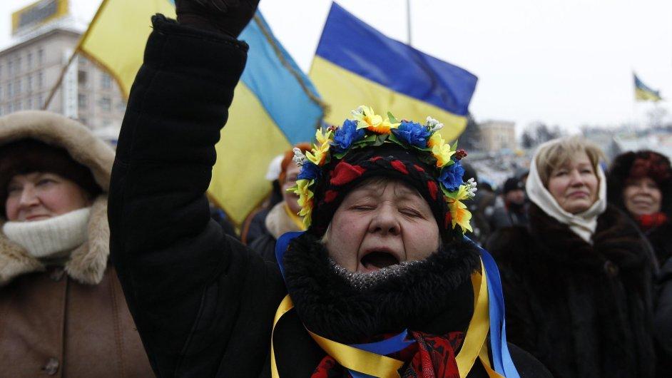 Protesty v Kyjevě.