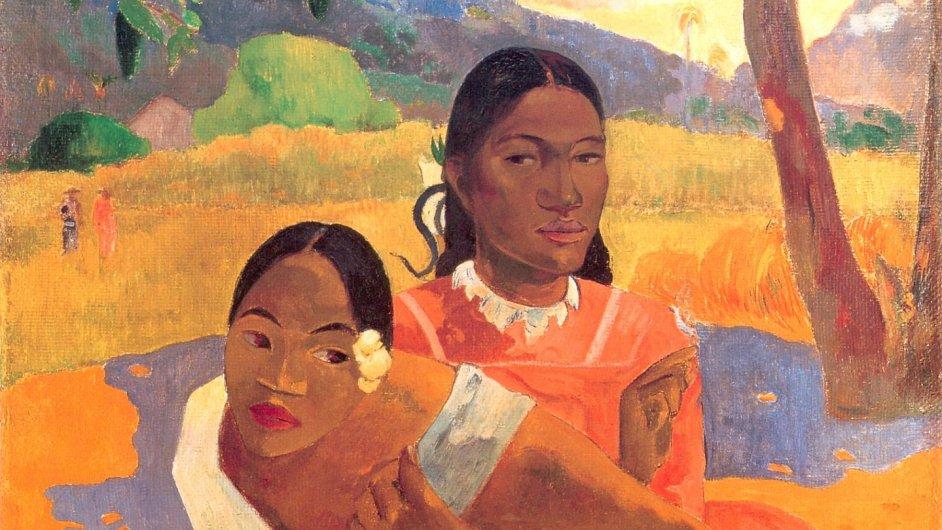 Detail Gauguinova obrazu Nafea faa ipoipo - Kdy se vdáš? z roku 1892