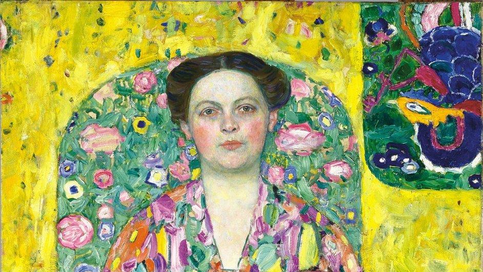 Detail z portrétu Eugenie Primavesi, který v letech 1913 až 1914 namaloval Gustav Klimt.