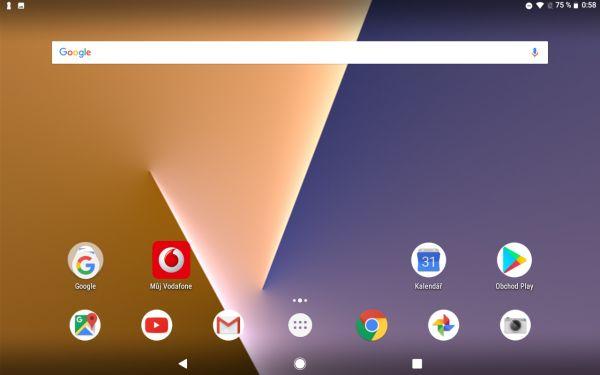 Snímek obrazovky z tabletu Vodafone Smart Tab V8
