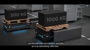 Přeprava palet pomocí robotů MiR1000 a MiR500.