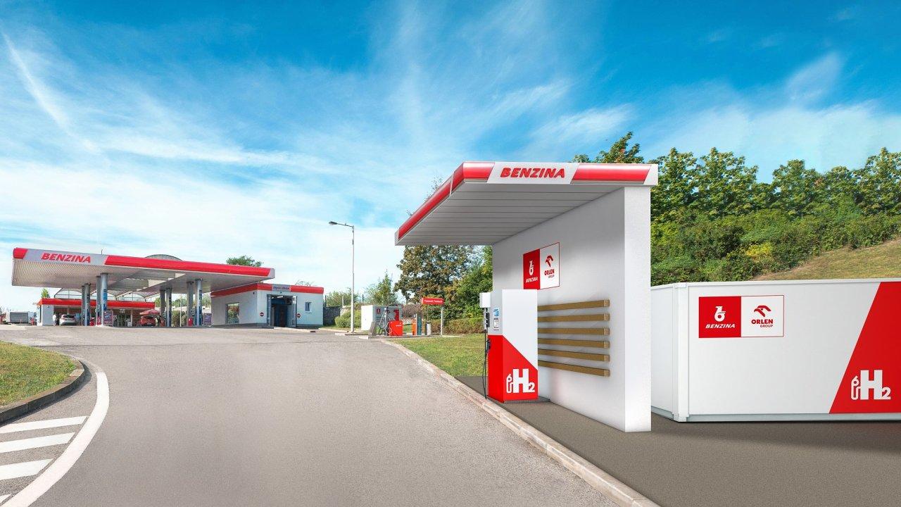 Vizualizace stanice s vodíkovými stojany v Praze na Barrandově