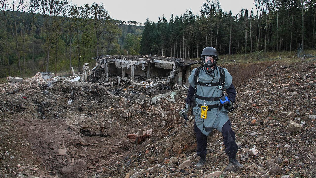 Areál ve Vrběticích po výbuchu