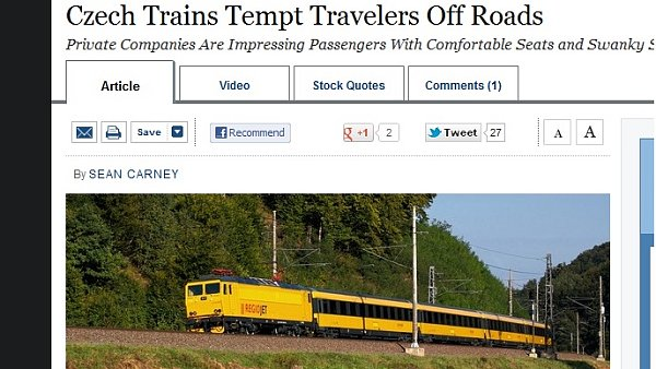 Czech Trains Tempt Travelers Off Roads - článek na Wall Street Journal