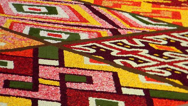 Letošní vzor květinového koberce na bruselském náměstí Grand Place