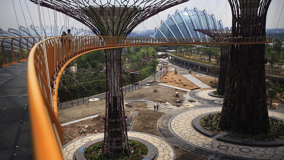 Fotografie stezky Skyway, která je částí singapurského projektu Gardens by the Bay.