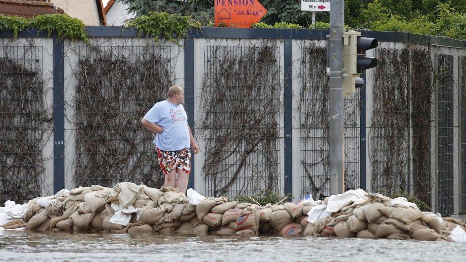 Záplavy v Magdeburgu.