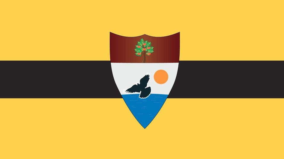 Vlajka Svobodné republiky Liberland ležící mezi Srbskem a Chorvatskem - Ilustrační foto.