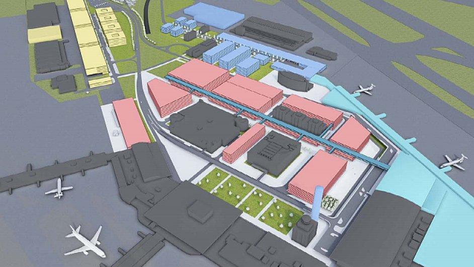 Plánovaná podoba pražského letiště - přibýt mají barevné části.