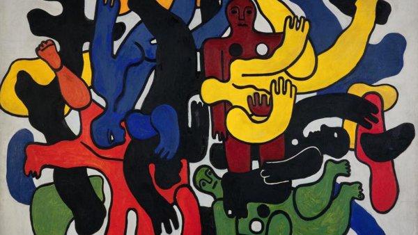 Rozměrný obraz Velcí černí potápěči je jednou zdominant výstavy Fernanda Légera. Autorovo pozdní dílo svou dekorativní povahou předznamenává pop-art.