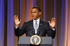 Barack Obama na benefiční akci Národního demokratického výboru v Los Angeles
