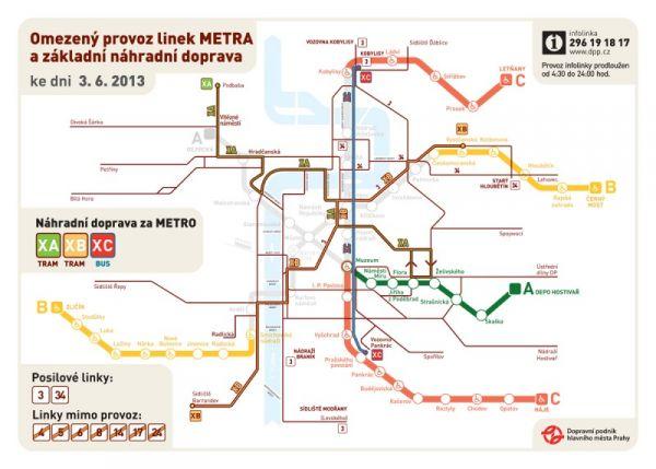 Schéma pražské dopravy pro 3. června 2013