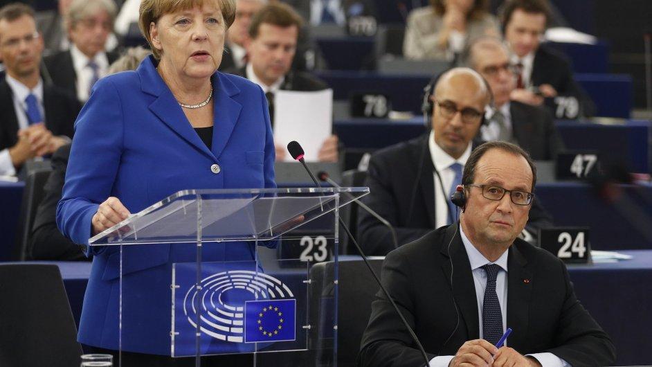 Angela Merkelová a Francois Hollande.