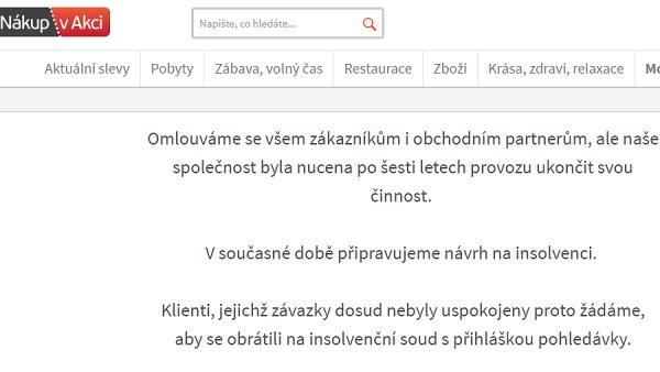 Slevový portál NákupvAkci.cz ukončil činnost a míří do insolvence