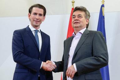 Předseda lidovců (ÖVP) Sebastian Kurz aWerner Kogler,šéf strany Zelených (Die Grünen).