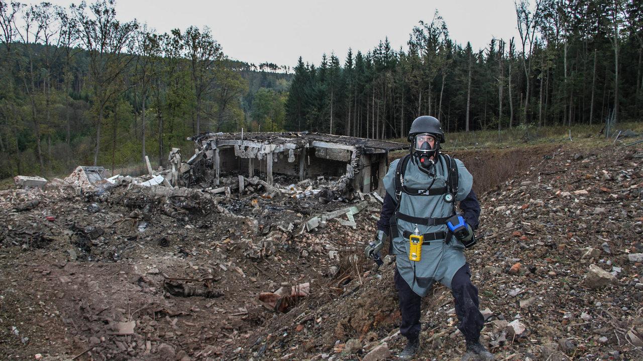 Vybuchlý muniční sklad ve Vrběticích.