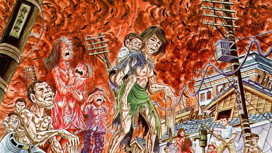 Obrázek výbuchu atomové bomby v Hirošimě z komiksu Bosý Gen.