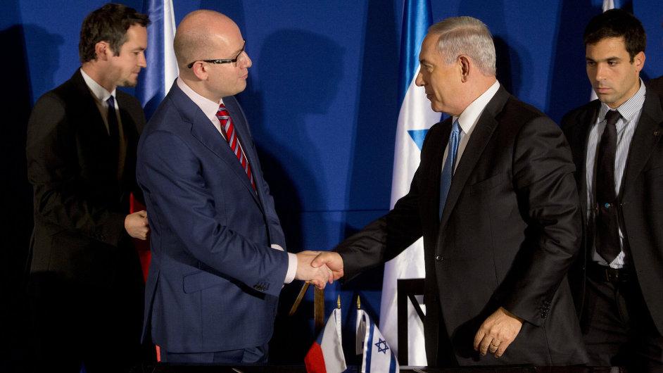 Český premiér Bohuslav Sobotka a izraelský premiér Benjamin Netanjahu.
