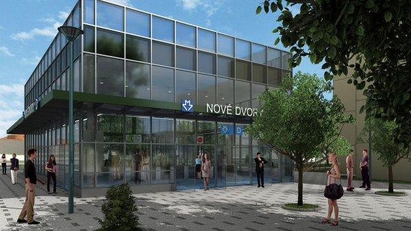 Vizualizace podoby stanice trasy D Nové Dvory (jižní vestibul).