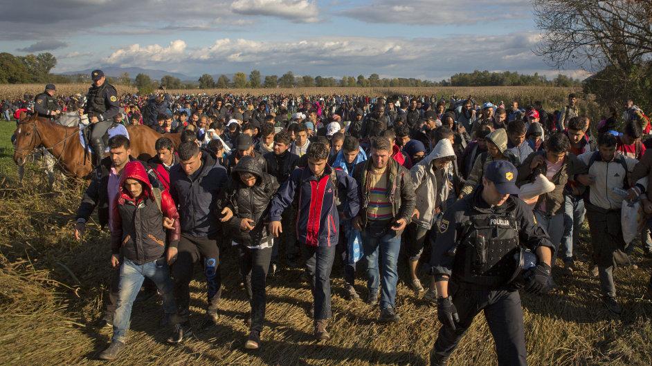 Stovky migrantu překračující hranice mezi Chorvatskem a Slovinskem v Mostecu.