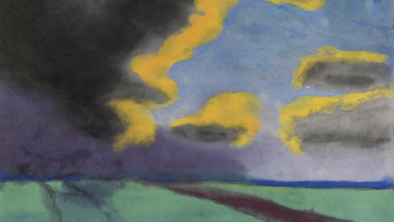 Emil Nolde – Krajina s mraky (nedatováno). Ani Noldeho sympatie k nacismu umělce neuchránily od nálepky autora