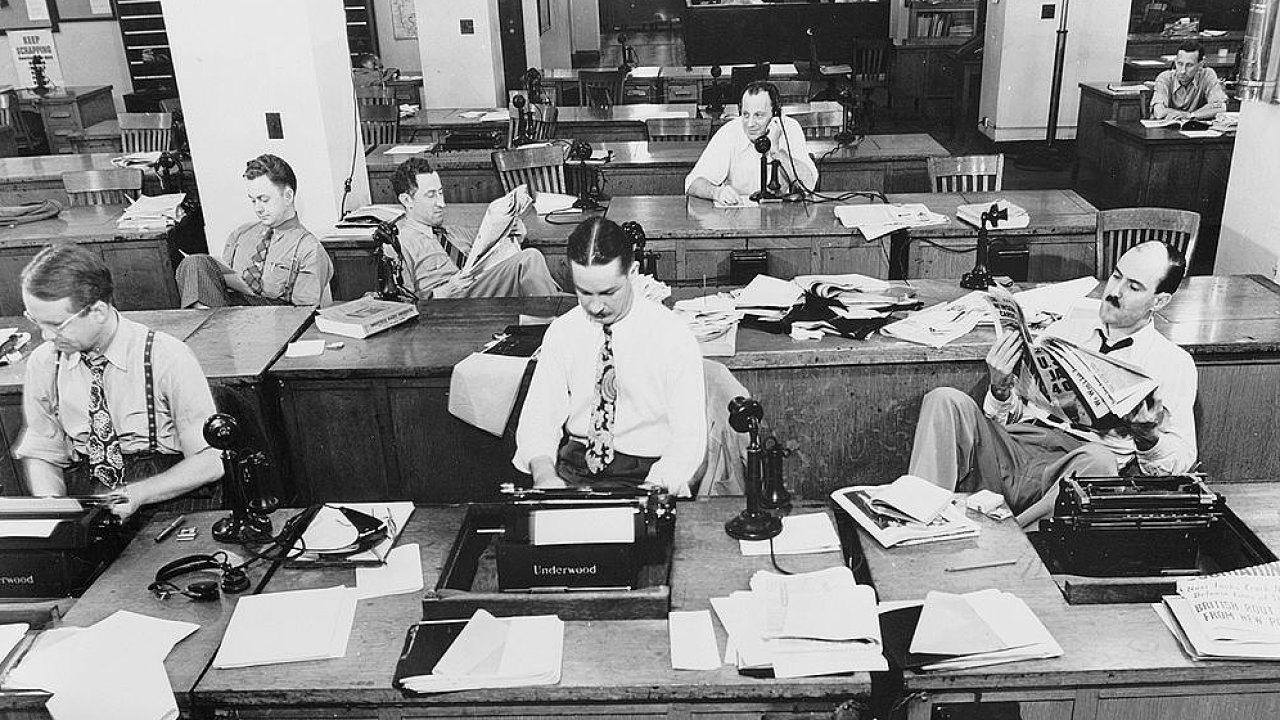 Newsroom deníku The New York Times. Září 1942.