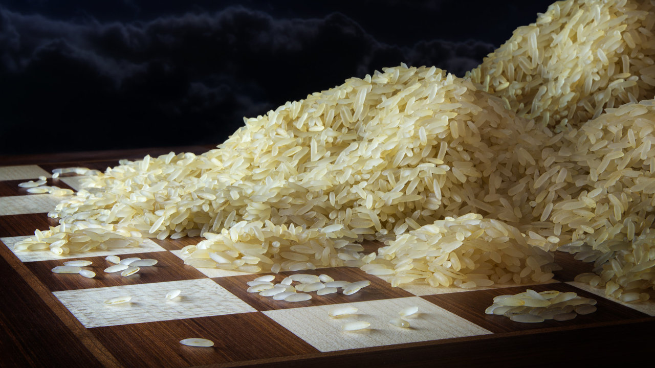 rýže, šachy, exponenciální růst