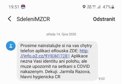 SMS vyzývající k instalaci eRoušky představují možný bezpečnostní problém